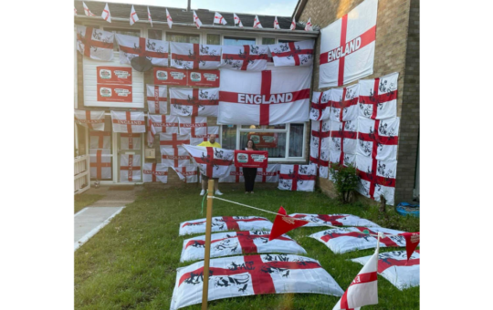 Footy fan covers house with over 50 England flags