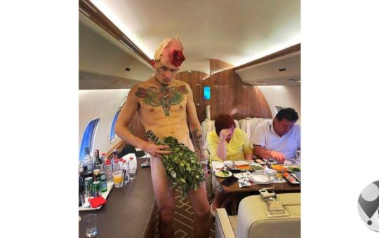 Rapper strips naked on private jet in front of fiancee and her parents