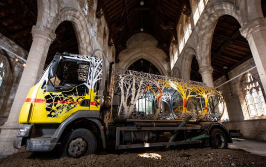 Oil truck turned into green sculpture to show nature 'taking back control'
